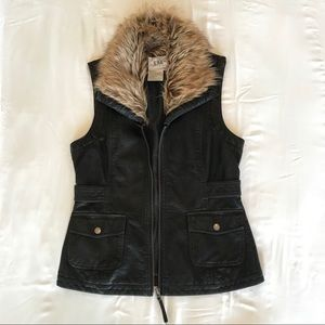 Black leather vest with faux fur